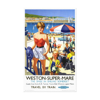 England Weston Super Mare Vintage Travel Poster Canvas Print