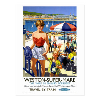 England Weston Super Mare Vintage Travel Poster Postcard
