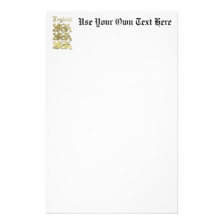 England's Coat of Arms Personalized Stationery
