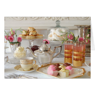 English Afternoon Tea, Scones, Fondant Fancies Card