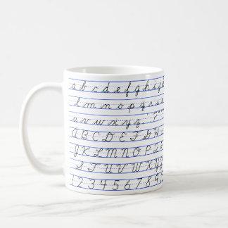 English Alphabet Diagram in Cursive Handwriting Basic White Mug