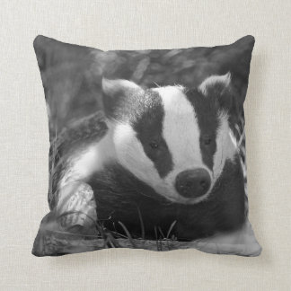 English Badger monochrome pillow