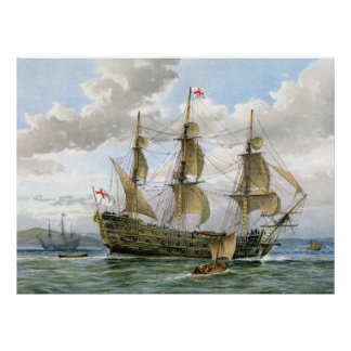 English Battleship about 1650 Poster