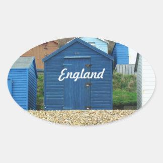 English Beach Oval Sticker