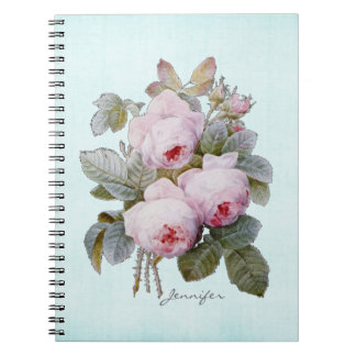 English Bourbon Rose Redoute Floral Personalized Notebooks