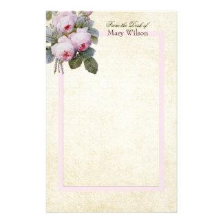 English Bourbon Roses Bouquet Custom Personalized Stationery