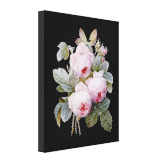 English Bourbon Roses Bouquet on Black by Redoute Canvas Print