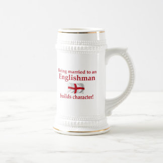 English Builds Character 18 Oz Beer Stein