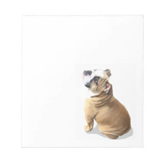 English bull dog puppy with heart design CUSTOMIZE Notepad