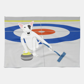 English Bull Terrier Curling Kitchen Towels