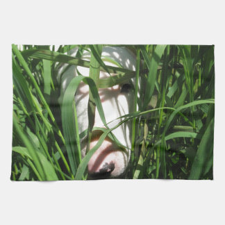 English Bull Terrier Hiding in the Grass Hand Towel