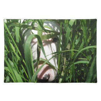 English Bull Terrier Hiding in the Grass Place Mat