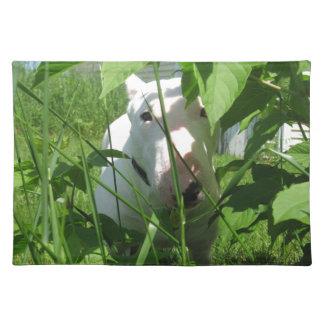 English Bull Terrier Peeking Through the Leaves Place Mat