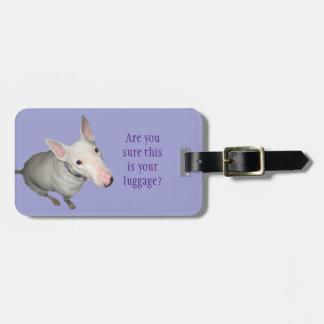 English Bull Terrier Sitting Pretty Luggage Tag