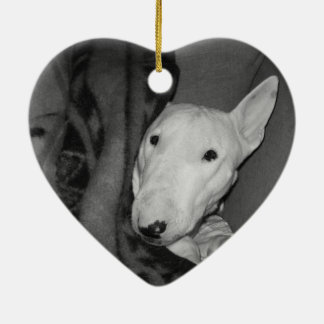 English Bull Terrier Snuggled Under a Blanket -BW Ceramic Heart Ornament