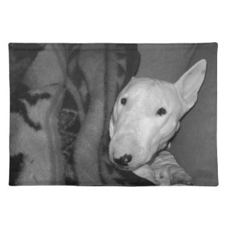 English Bull Terrier Snuggled Under a Blanket -BW Placemat