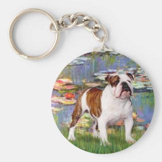 English Bulldog 5 - Lilies Keychain