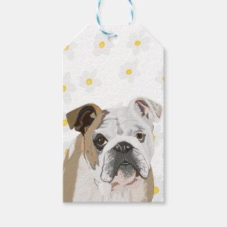 English Bulldog against Daisies Gift Tags