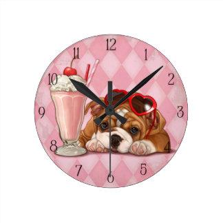 English bulldog and milkshake clocks
