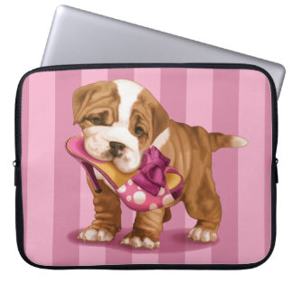 English bulldog and shoe computer sleeve
