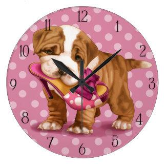 English bulldog and shoe wall clock