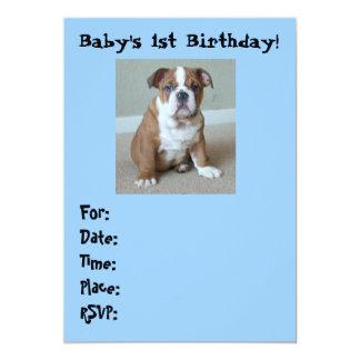 English Bulldog Baby's 1st Birthday Invitations
