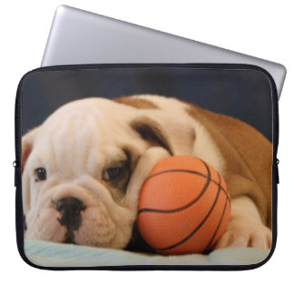 English Bulldog Basketball Puppy Laptop Computer Sleeves