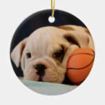 English Bulldog Basketball Puppy Round Ceramic Ornament