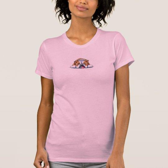 English Bulldog Being Adorable Off-Leash Art™ T-Shirt
