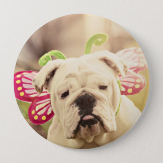 English Bulldog Butterfly Photo Button
