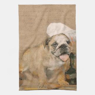English Bulldog Chef Kitchen Print Kitchen Towel