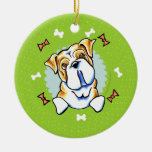 English Bulldog Christmas Wreath Round Ceramic Ornament