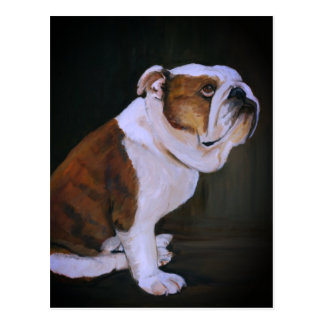 English Bulldog Dog Art Postcard