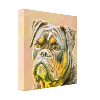 English Bulldog Dog Oil Painting Portrait Canvas Print
