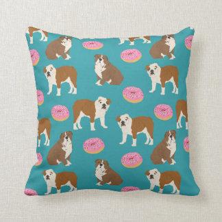 English Bulldog Donuts throw pillow