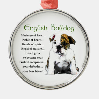 English Bulldog Heritage of Love Round Metal Christmas Ornament