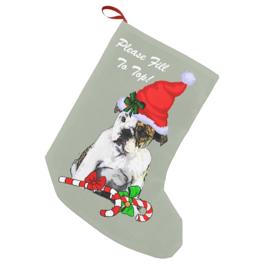 English Bulldog Merry Christmas Small Christmas Stocking