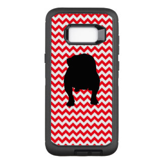 English Bulldog on Fire Truck Red Chevron OtterBox Defender Samsung Galaxy S8+ Case