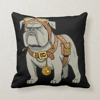 English BULLDOG PILOT Throw Pillow