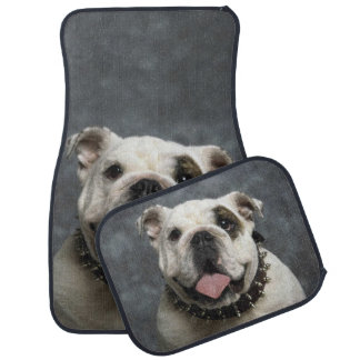 English Bulldog Portrait Car Mat Set