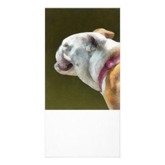 English Bulldog Profile Customized Photo Card