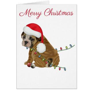 English Bulldog Puppy Christmas Card