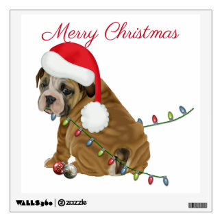 English Bulldog Puppy Christmas Wall Sticker