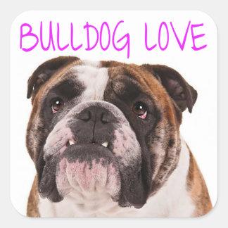English Bulldog Puppy Dog Purple Love Square Sticker