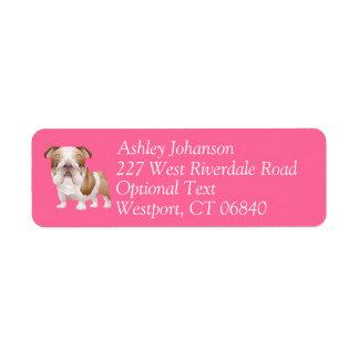 English Bulldog Puppy Dog Return Address l Label Return Address Label