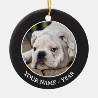 English bulldog puppy stretching down. round ceramic ornament