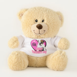 English Bulldog Puppy Valentines Day Teddy Bear