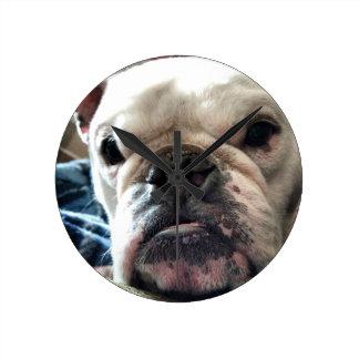 English Bulldog Round Clock
