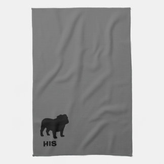 English Bulldog Silhouette His (Customizable) Kitchen Towel