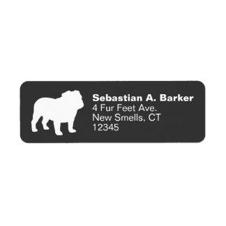 English Bulldog Silhouette Return Address Label